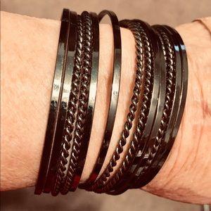 Shiny dark silver color 14 band cuff